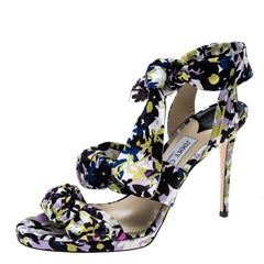 Jimmy Choo Multicolor Floral Print Satin Kris Knot Sandals Size 40