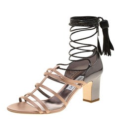 Jimmy Choo Beige Satin and Metallic Leather Diamond Tie Up Block Heel Sandals Si