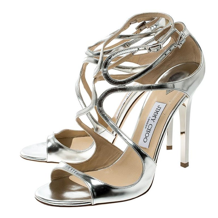 076c157b2a8 Jimmy Choo Metallic Silver Mirror Leather Lance Strappy Sandals Size 41 For  Sale 1