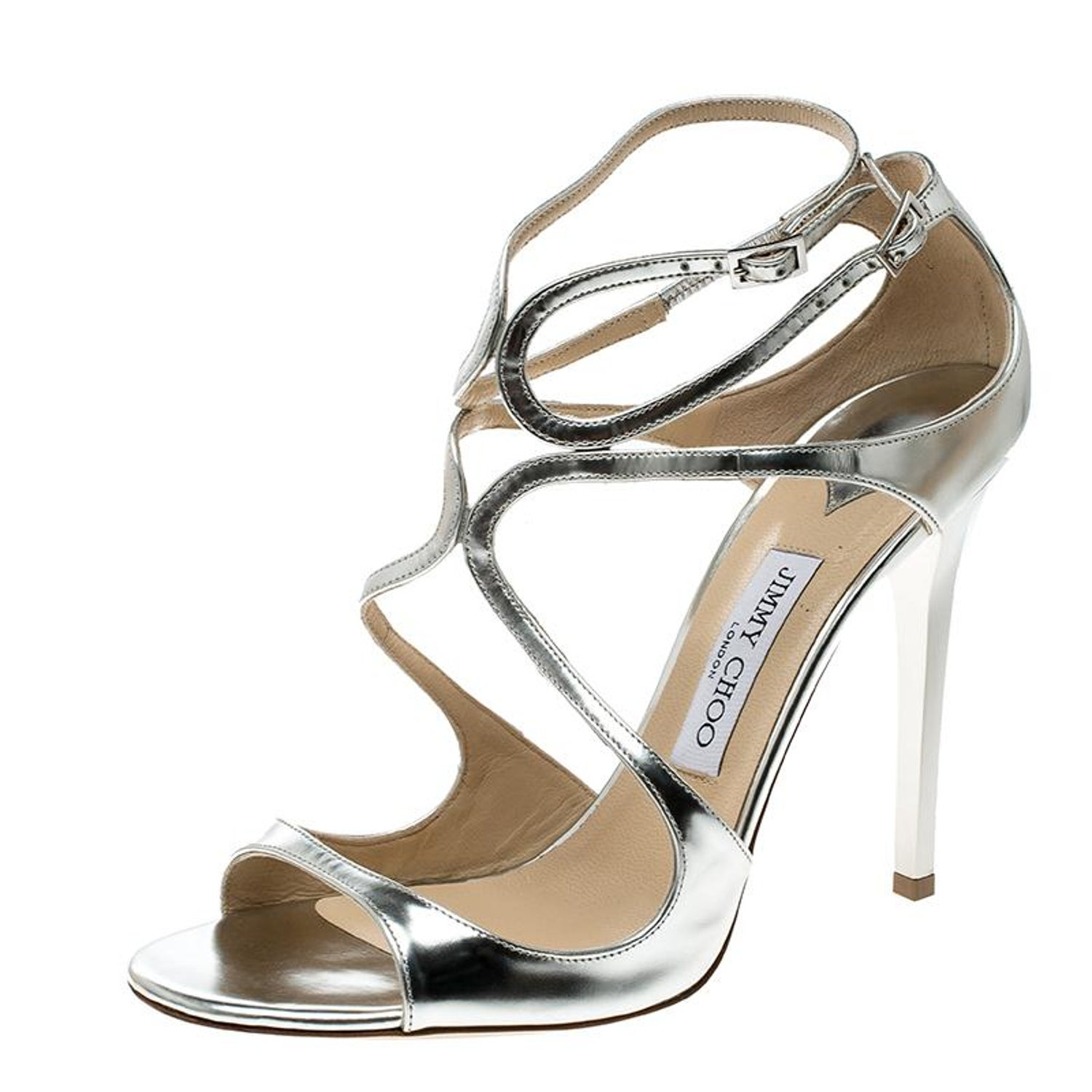 a0233d7045d Jimmy Choo Metallic Silver Mirror Leather Lance Strappy Sandals Size 41 at  1stdibs
