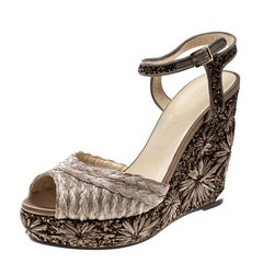 Jimmy Choo Light Mocha Raffia and Embroidered Coarse Glitter Perla Peep Toe Wedg