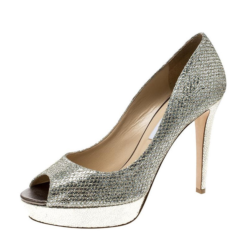 4c3cd0dbb Jimmy Choo Metallic Champagne Lamè Glitter Fabric Dahlia Platform Peep Toe  Pumps For Sale