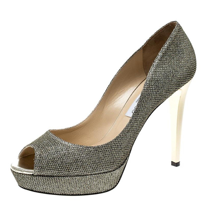 81e7ddee3905 Jimmy Choo Metallic Gold Lamè Glitter Fabric Dahlia Platform Peep Toe Pumps  Size at 1stdibs