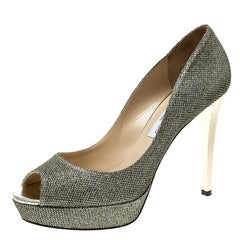 Jimmy Choo Metallic Gold Lamè Glitter Fabric Dahlia Platform Peep Toe Pumps Size