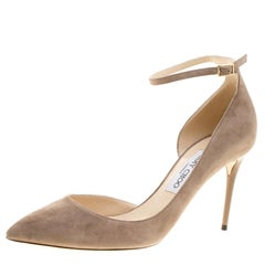 Jimmy Choo Beige Suede Lucy Ankle Strap Pointed Toe D'orsay Pumps Size 40
