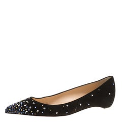 Christian Louboutin Black Suede Gravitanita Crystal Embellished Pointed Toe Flat