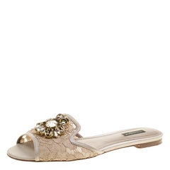 Dolce and Gabbana Beige Lace Sofia Crystal Embellished Slides Size 39.5