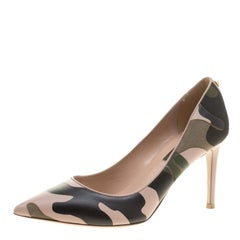 Valentino Two Tone Camouflage Leather and Canvas Pointed Toe Pumps Size 36.5