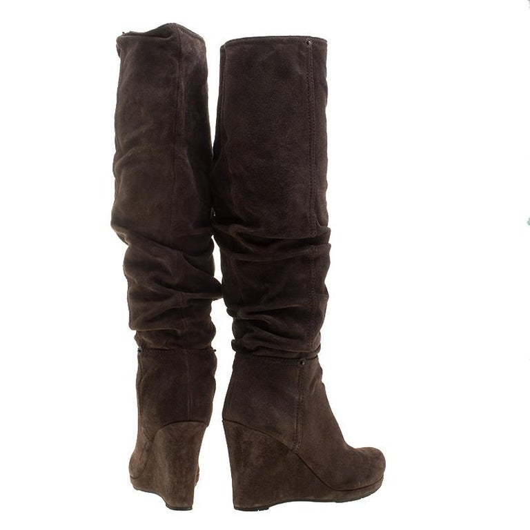 7faaefb3cb1 Black Prada Brown Pleated Suede Wedge Heel Knee High Boots Size 39 For Sale