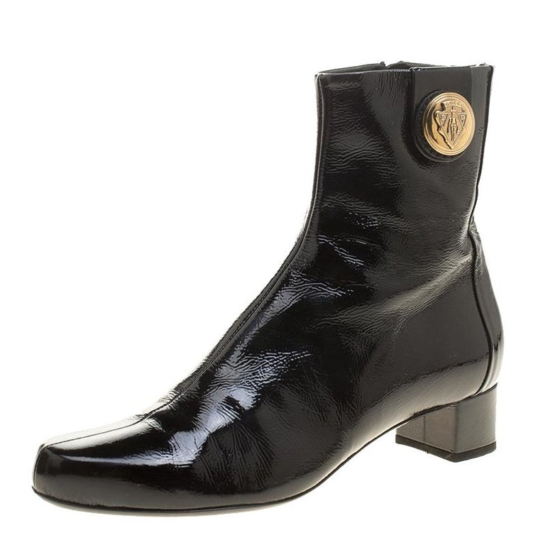 19974e371df Gucci Black Patent Leather Hysteria Ankle Boots Size 38 at 1stdibs