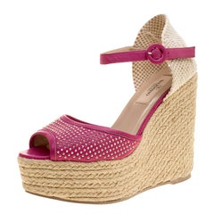 Valentino Pink Studded Leather Espadrille Wedge Ankle Strap Sandals Size 37