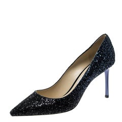 Jimmy Choo Metallic Coarse Glitter Degradé Romy Pointed Toe Pumps Size 40.5