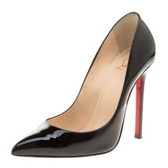 Christian Louboutin Black Patent Leather Pigalle Pointed Toe Pumps Size 37.5