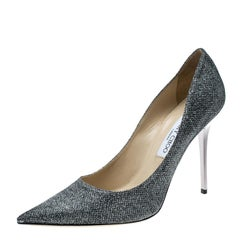 Jimmy Choo Metallic Grey Lamè Glitter Fabric Abel Pointed Toe Pumps Size 41
