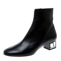 Salvatore Ferragamo Black Leather Crystal Heel Ankle Boots Size 40.5