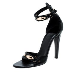 Balenciaga Black Leather Buckle Detail Ankle Strap Open Toe Sandals Size 38
