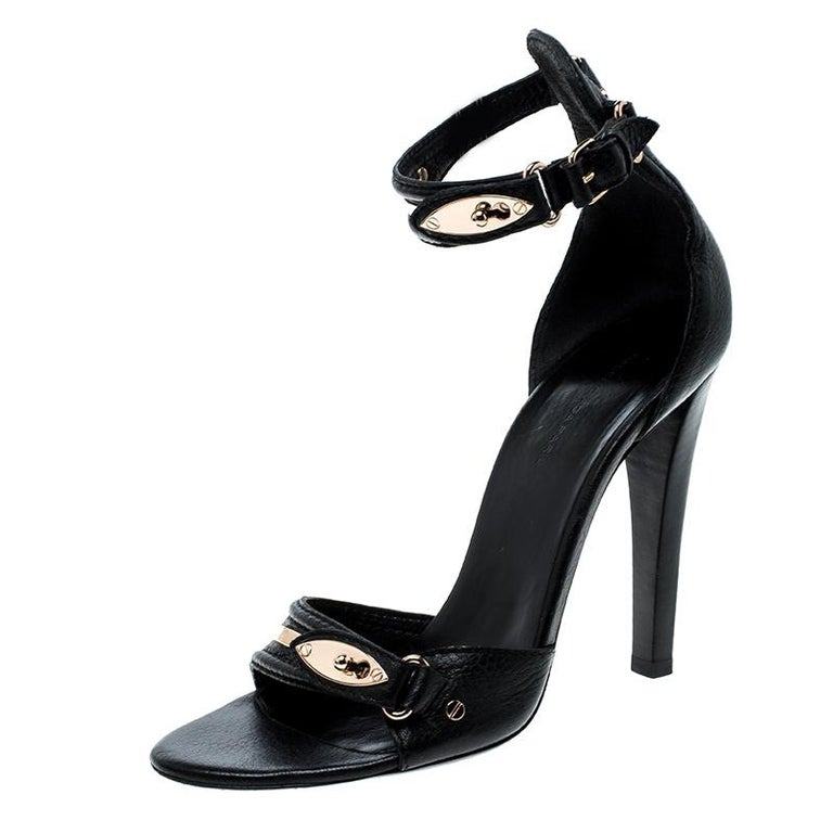 Balenciaga Black Leather Buckle Detail Ankle Strap Open Toe Sandals Size 38 For Sale