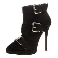 Giuseppe Zanotti Black Buckled Suede Platform Ankle Boots Size 39