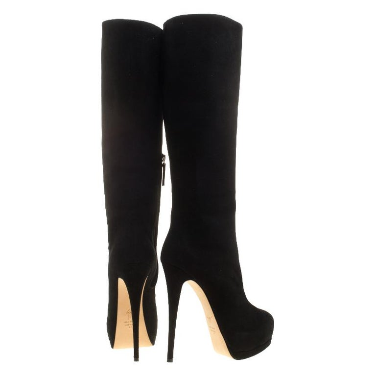 d945005db90 Giuseppe Zanotti Black Suede Platform Knee Boots Size 41 In New Condition  For Sale In Dubai