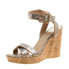 Stuart Weitzman Metallic Silver Embossed Suede Cross Strap Cork Wedge Sandals Si
