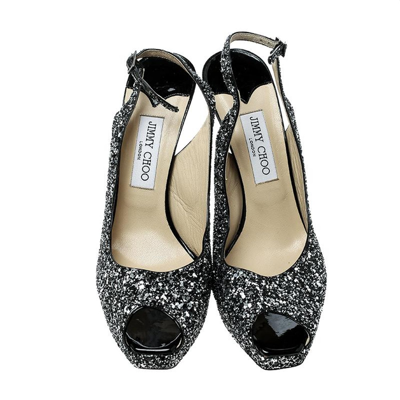 b112d1f24ce8 Jimmy Choo Metallic Silver Coarse Glitter Clue Peep Toe Slingback Sandals  Size 4 at 1stdibs