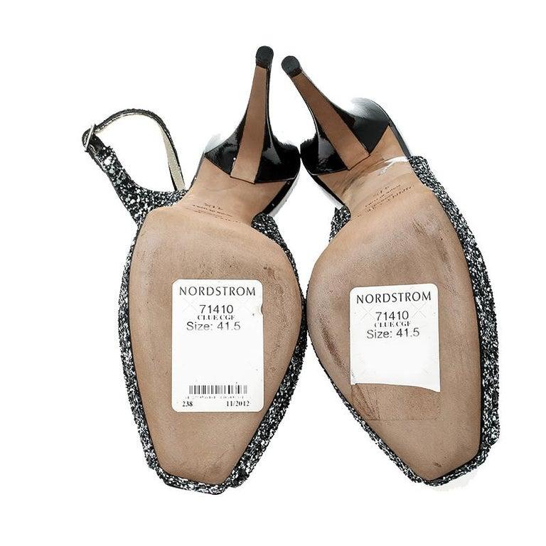 30b4aaaf07bc Jimmy Choo Metallic Silver Coarse Glitter Clue Peep Toe Slingback Sandals  Size 4 For Sale 2
