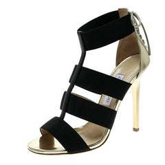 Jimmy Choo Black/Gold Elastic Strap and Leather Dulsa Lace Back Sandals Size 40