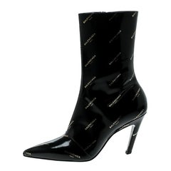 Balenciaga Black Patent Leather All Over Logo Slash Heel Ankle Boots Size 36