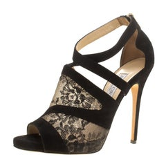 Jimmy Choo Black Lace and Suede Vantage Cross Strap Peep Toe Sandals Size 41