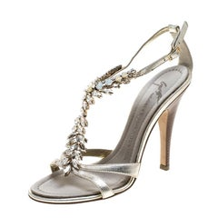 Giuseppe Zanotti Metallic Light Gold Leather Crystal Embellished Sandals Size 37