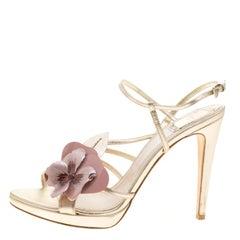 Dior Metallic Light Gold Leather Flower Embellished Sandals Size 38.5