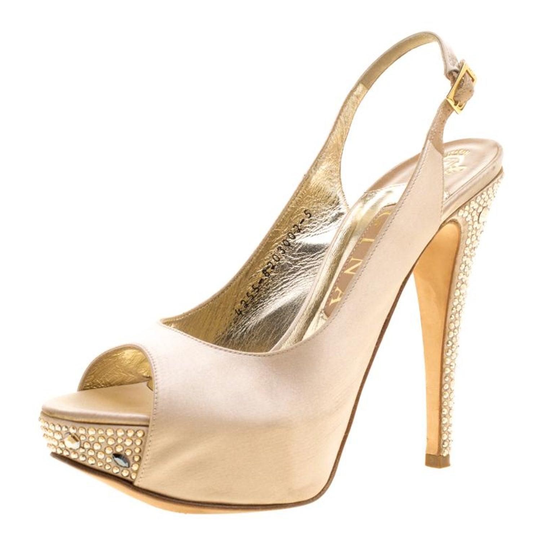 36e62183ef0 Gina Beige Satin Crystal Embellished Heel Peep Toe Slingback Sandals Size 38  at 1stdibs