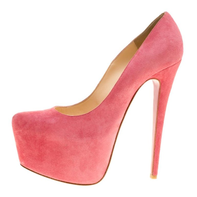 36221fabd Christian Louboutin Pink Suede Daffodile Platform Pumps Size 37 For Sale