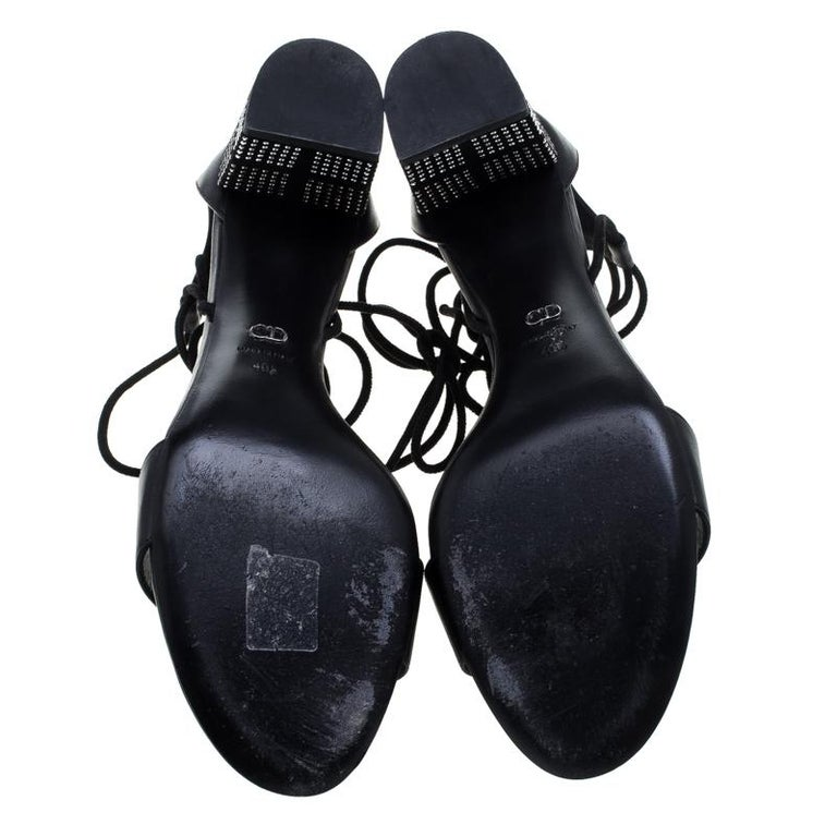 Dior Black Leather Rainbow Stellar Block Heel Lace Up Sandals Size 40.5 For Sale 2