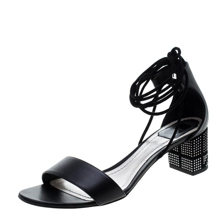 Dior Black Leather Rainbow Stellar Block Heel Lace Up Sandals Size 40.5 For Sale