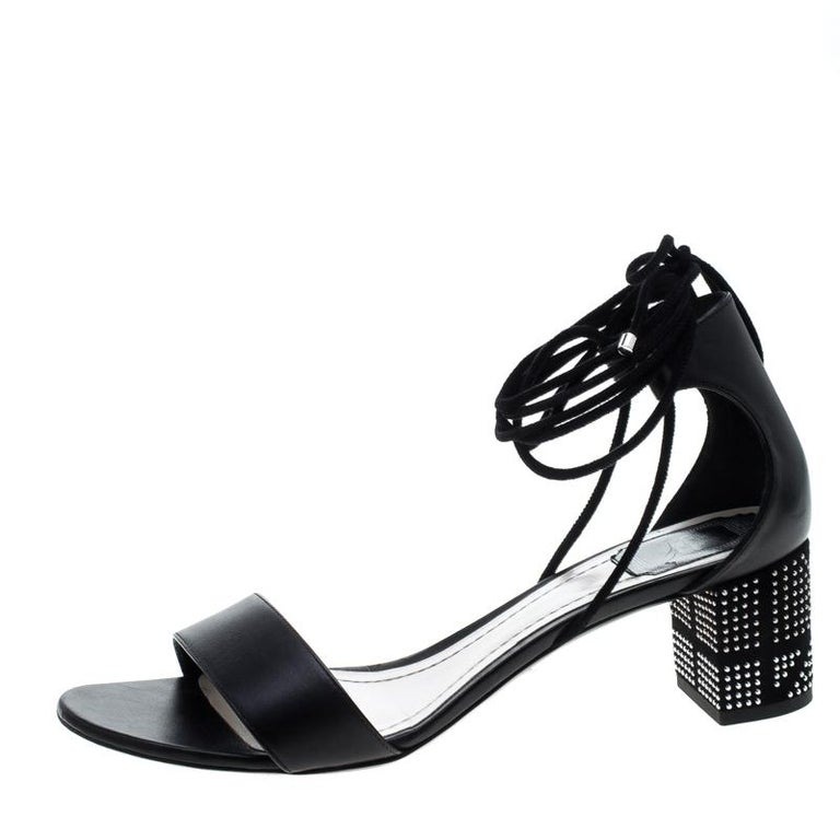 Dior Black Leather Rainbow Stellar Block Heel Lace Up Sandals Size 40.5 For Sale 3