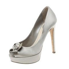 Dior Grey Satin Rose Detail Peep Toe Platform Pumps Size 38