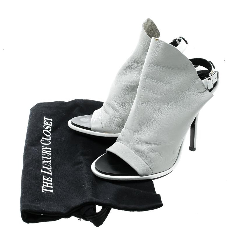 288eadf88 Balenciaga Grey Leather Glove Peep Toe Sandals Size 37 at 1stdibs