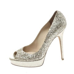 Jimmy Choo Metallic Gold Coarse Glitter Crown Peep Toe Platform Pumps Size 39