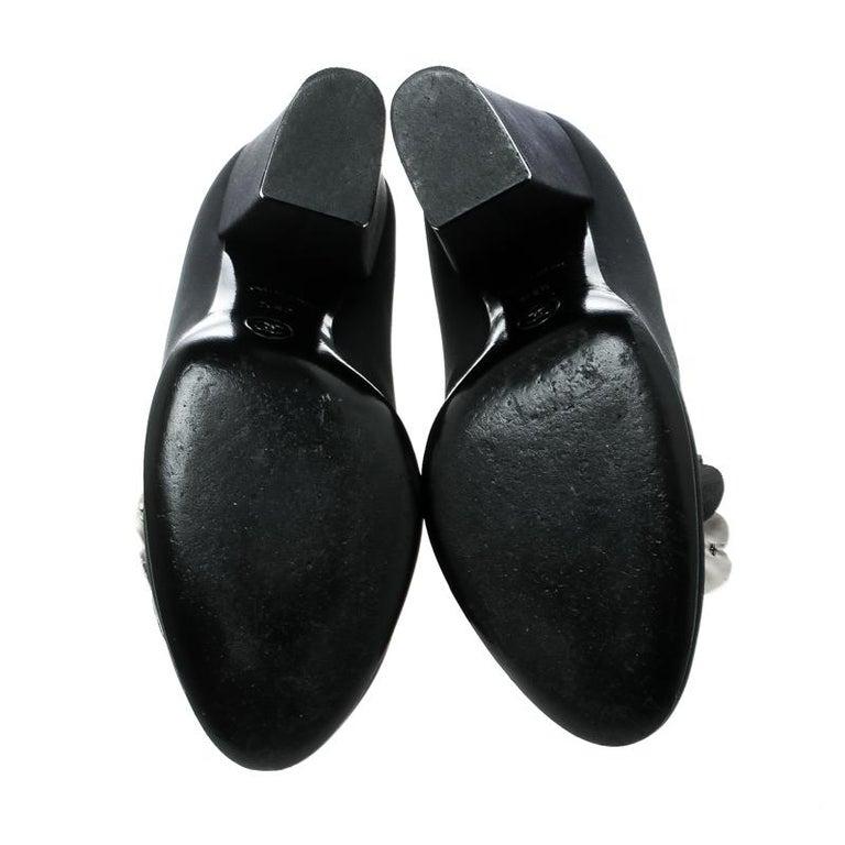c375062b1a1 Women s Chanel Black Satin Camellia Embellished Block Heel Pumps Size 39.5  For Sale