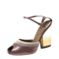 Fendi Blush Pink Leather and Satin Ankle Strap Block Heel Sandals Size 37