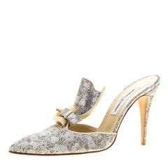 Manolo Blahnik Grey Floral Brocade Fabric Fan Pleat Detail Pointed Toe Mules Siz