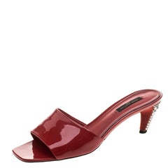 Louis Vuitton Red Patent Leather Slides Sandals Size 37