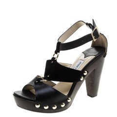 Jimmy Choo Black/Brown Leather and Suede Studded Ankle Strap Sandals Size 38