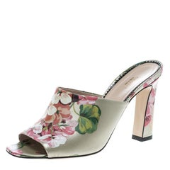Gucci Multicolor Bloom Print Leather Shanghai Mules Size 39