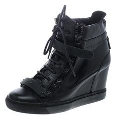 Giuseppe Zanotti Black Leather Lorenz Wedge Sneakers Size 41