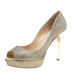 Jimmy Choo Metallic Gold Lamè Fabric Dahlia Peep Toe Platform Pumps Size 41