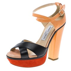 Jimmy Choo Tricolor Leather Cross Strap Platform Block Heel Sandals Size 36