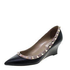 Valentino Black Leather Rockstud Pointed Toe Wedge Pumps Size 37.5