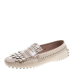 Tod's Beige Patent Leather Gommini Heaven Fringe Penny Loafers Size 38